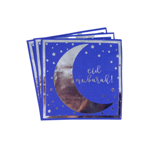 Eid Mubarak Napkins (20 pk) - Blue & Silver - Peacock Supplies