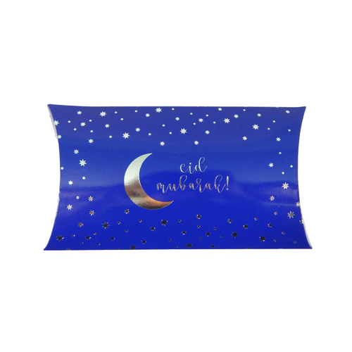 Eid Mubarak Pillow Box (10pk) - Blue & Silver - Peacock Supplies