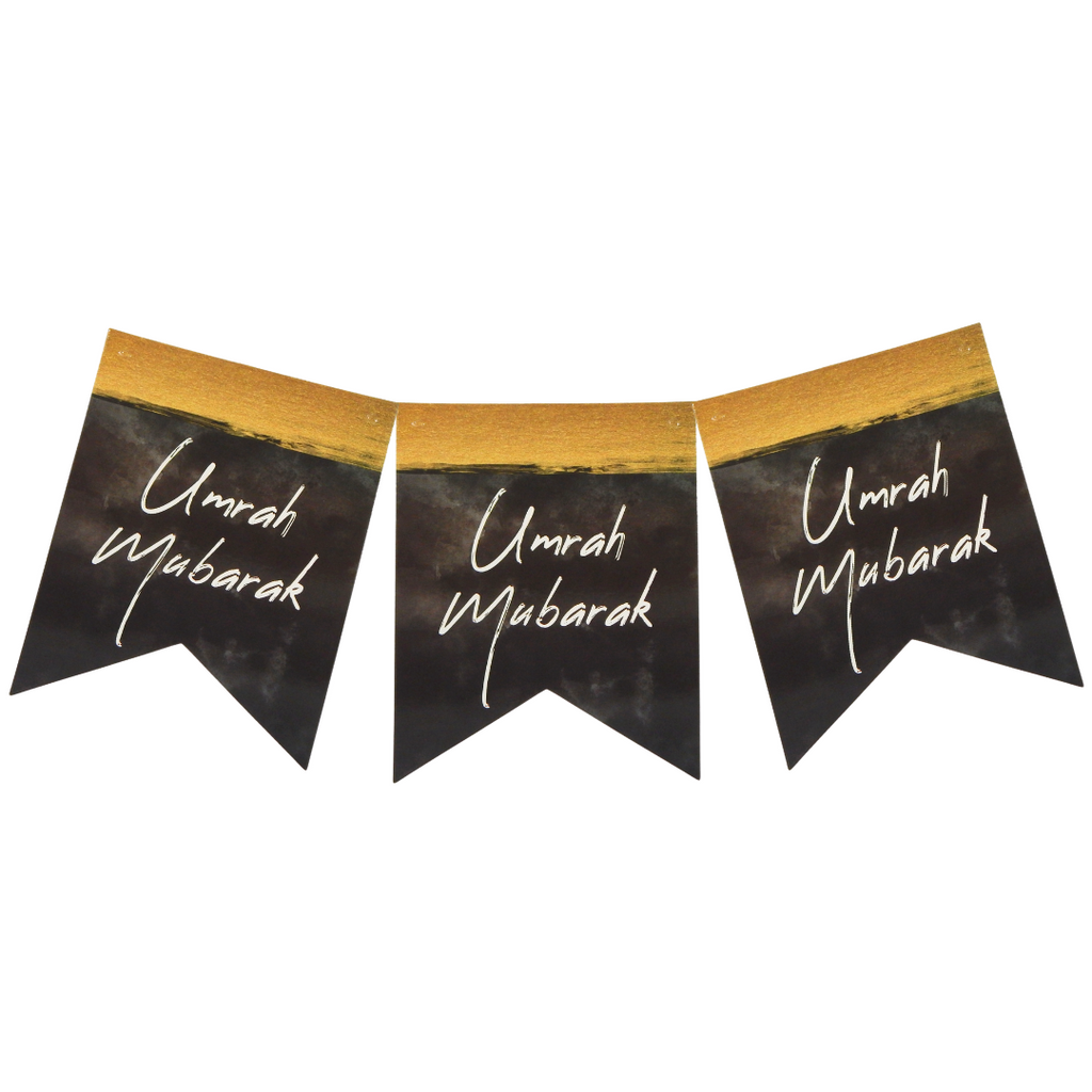 Umrah Mubarak Banner - black & Gold - Peacock Supplies