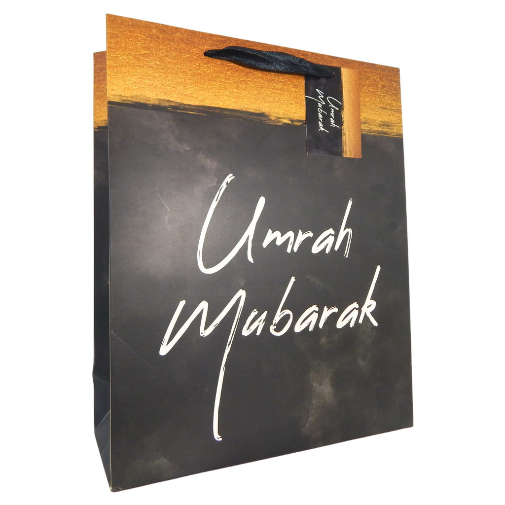 Umrah Mubarak Gift Bag - Black & Gold - Peacock Supplies