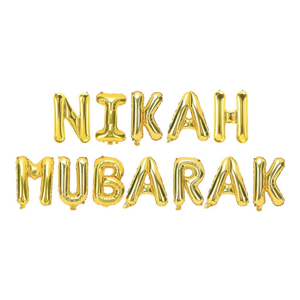 Nikah Mubarak Foil Balloons - Gold - Peacock Supplies