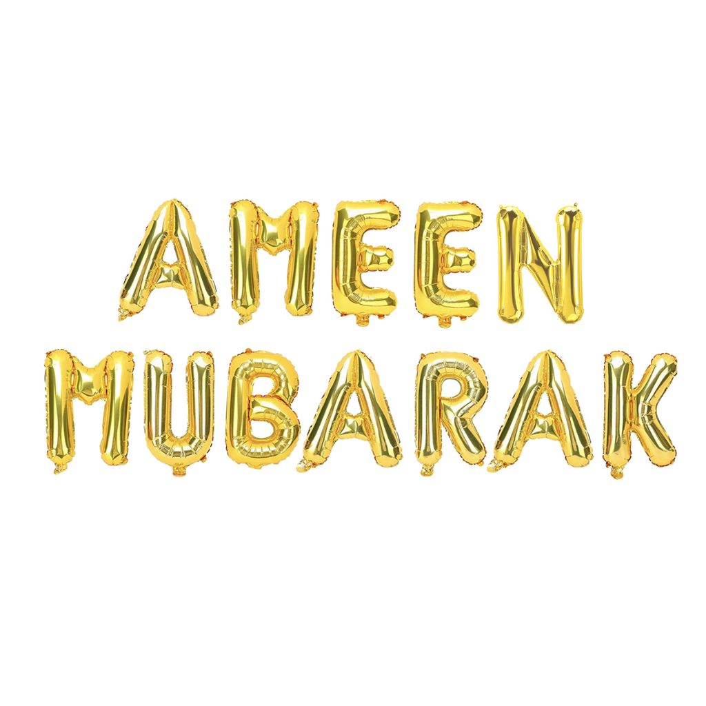 Ameen Mubarak Foil Balloons - Gold - Peacock Supplies