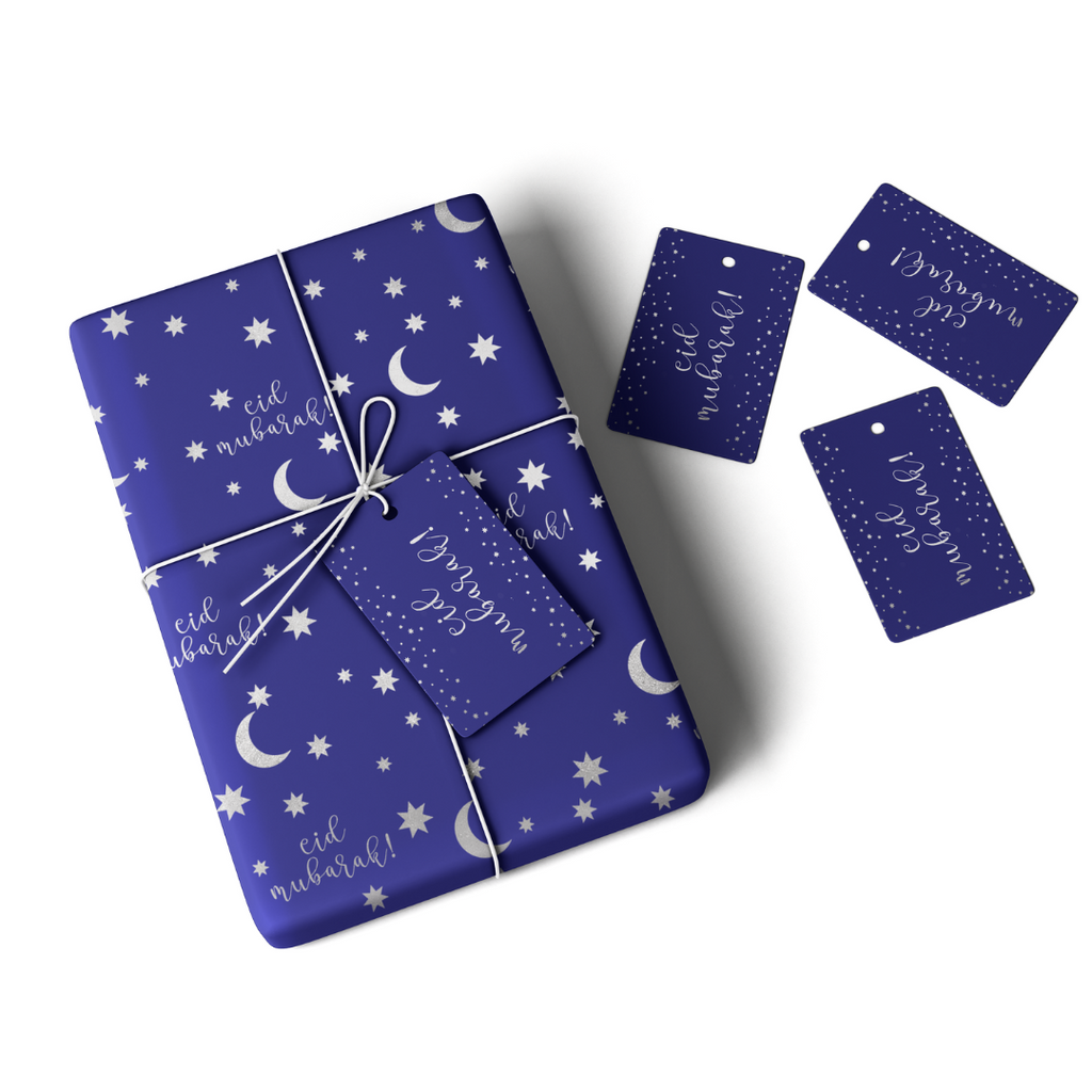 Eid Mubarak Gift Wrap & Tag - Blue & Silver - Peacock Supplies