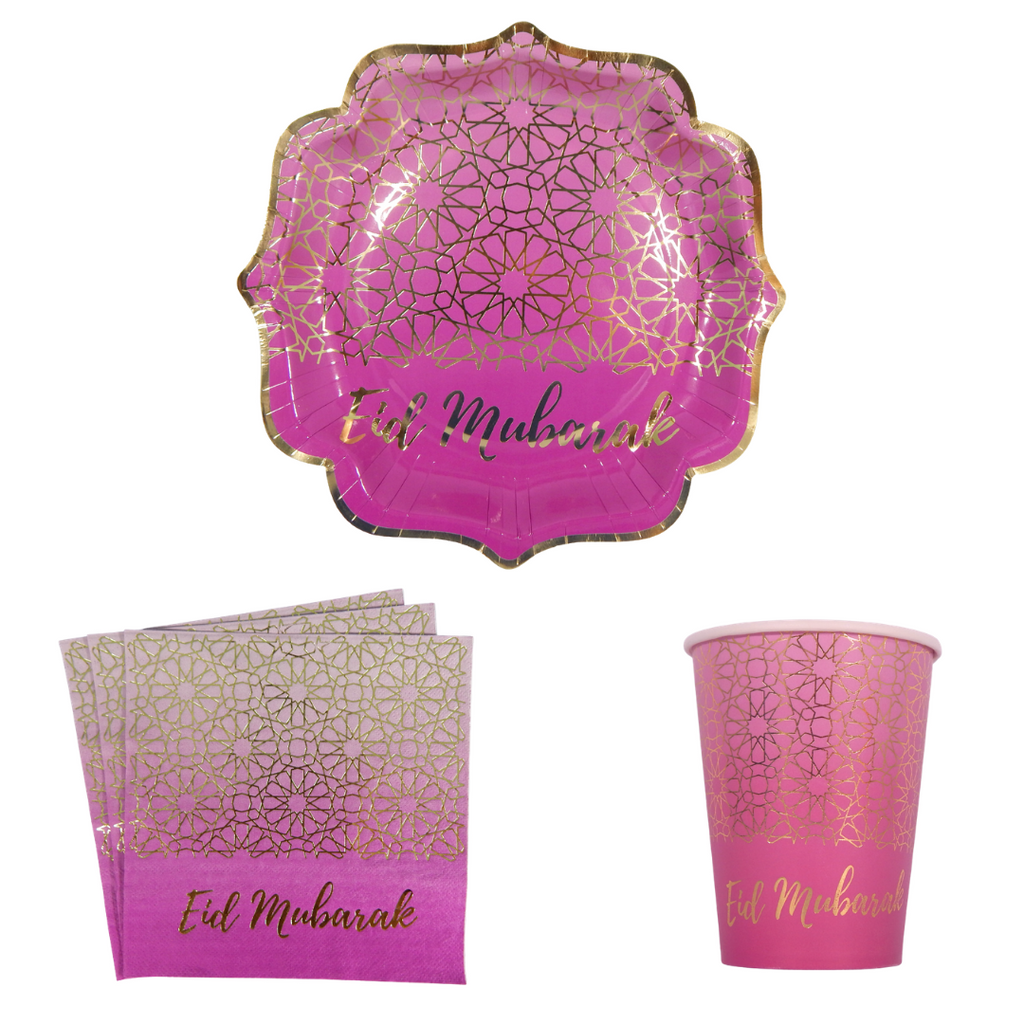 Eid Mubarak Party Pack - Purple & Gold - Peacock Supplies