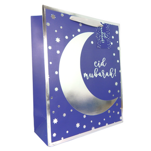 Eid Mubarak Gift Bag - Blue & Silver - Peacock Supplies