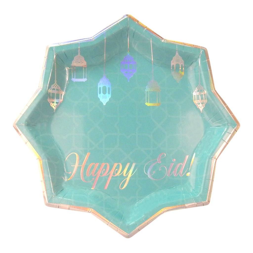 Happy Eid Party Plates (10pk) - Teal & Iridescent - Peacock Supplies
