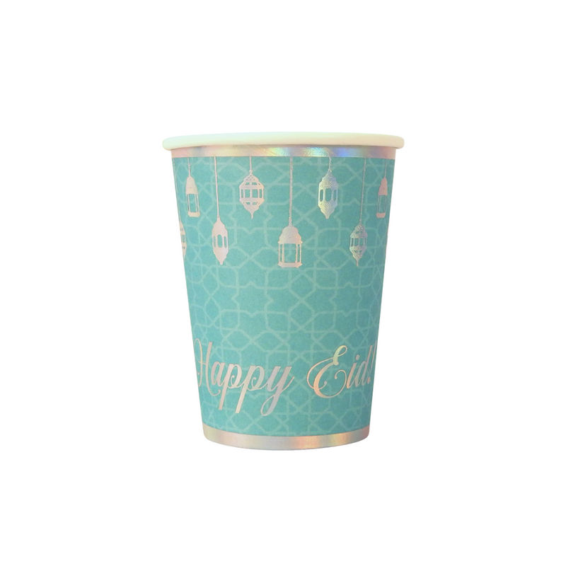 Happy Eid Party Cups (10pk) - Teal & Iridescent - Peacock Supplies