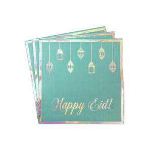 Happy Eid Party Napkins (20pk) - Teal & Iridescent - Peacock Supplies