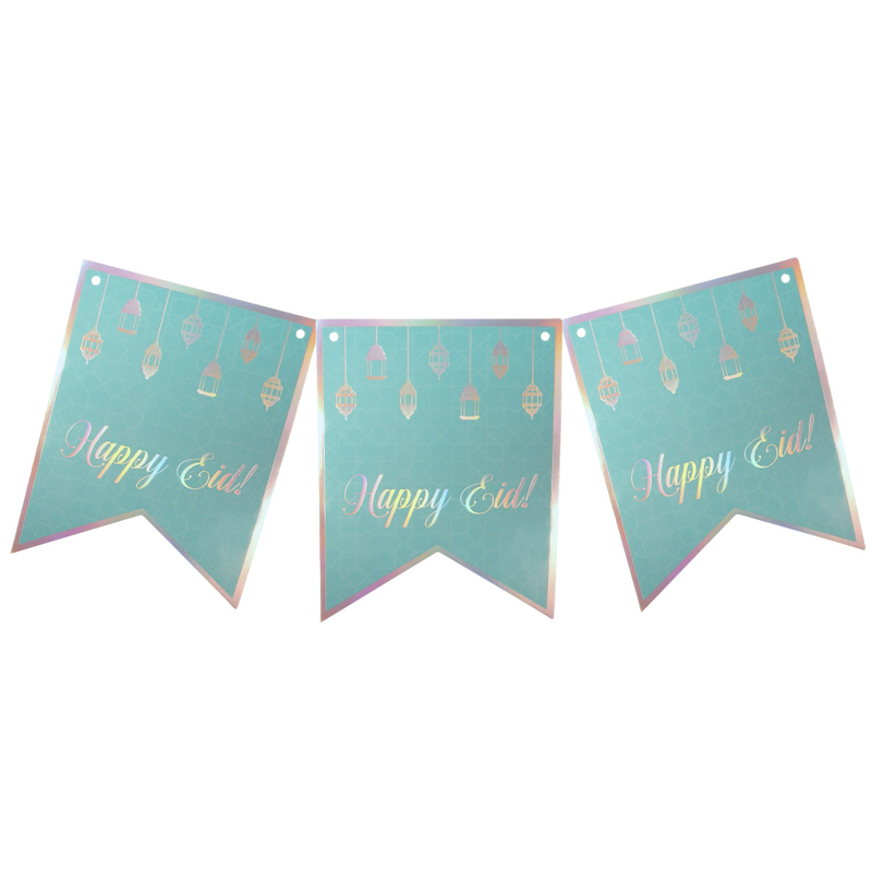 Happy Eid Party Banner - Teal & Iridescent - Peacock Supplies