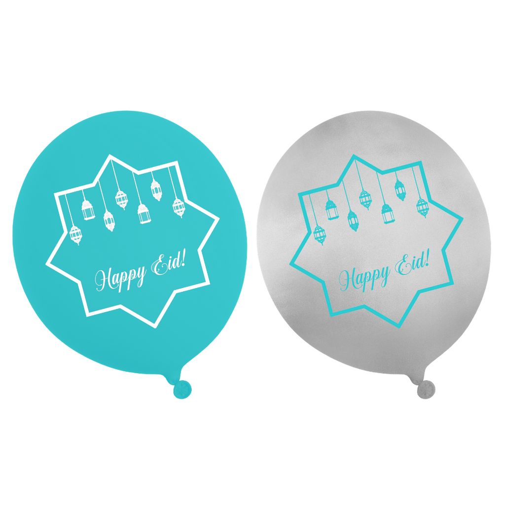 Happy Eid Balloons (10pk) - Teal & Iridescent- Peacock Supplies
