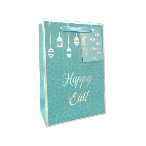 Happy Eid Gift Bag - A5 - Teal & Iridescent - Peacock Supplies
