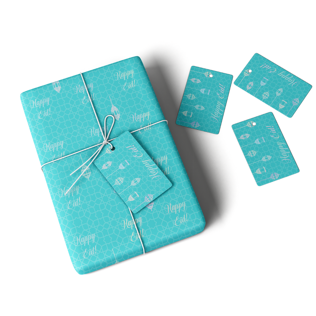 Happy Eid Gift Wrap & Tag - Teal & Iridescent - Peacock Supplies