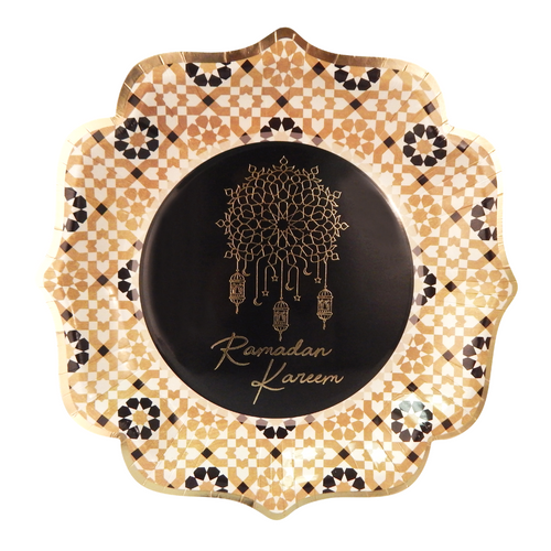 Ramadan Kareem Party Plates (10pk) - Black & Gold - Peacock Supplies