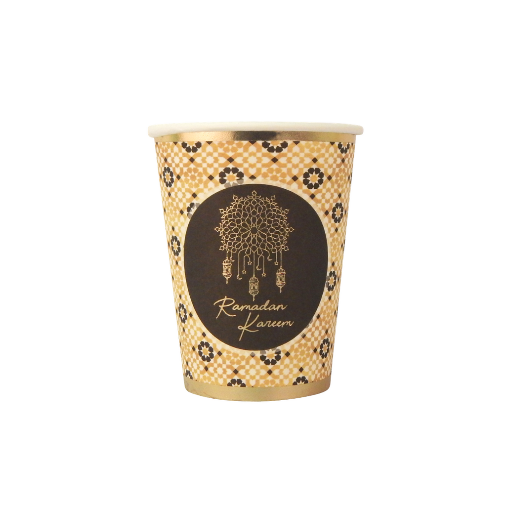 Ramadan Kareem Party Cups (10pk) - Black & Gold - Peacock Supplies