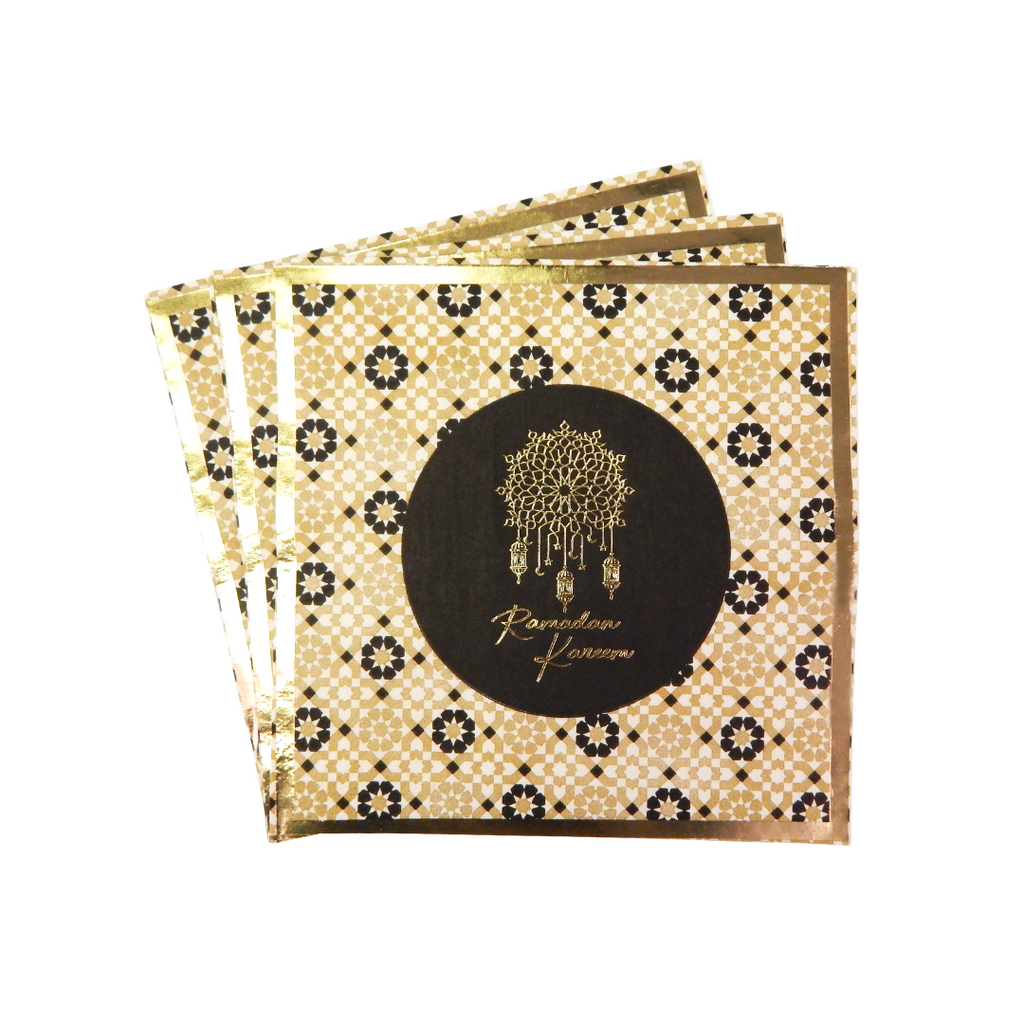 Ramadan Kareem Party Napkins (20pk) - Black & Gold - Peacock Supplies