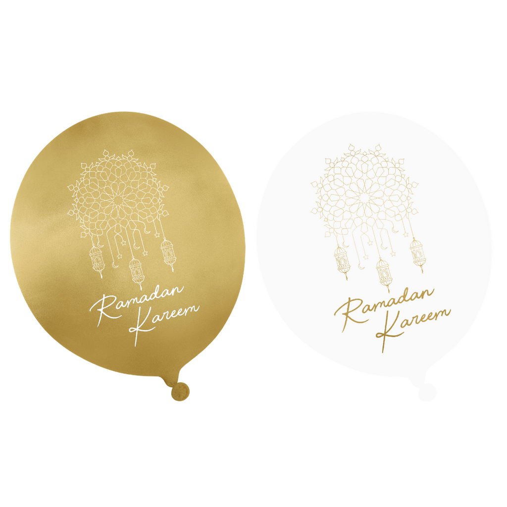 Ramadan Kareem Party Balloons (10pk) - Gold & White - Peacock Supplies