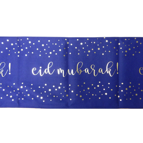 Eid Table Runner - Blue & Silver - Peacock Supplies
