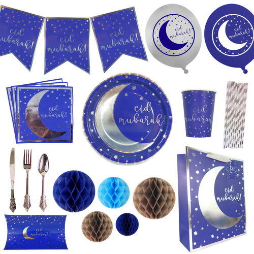 Party In A Box - Eid - Navy & Silver - Peacock Supplies