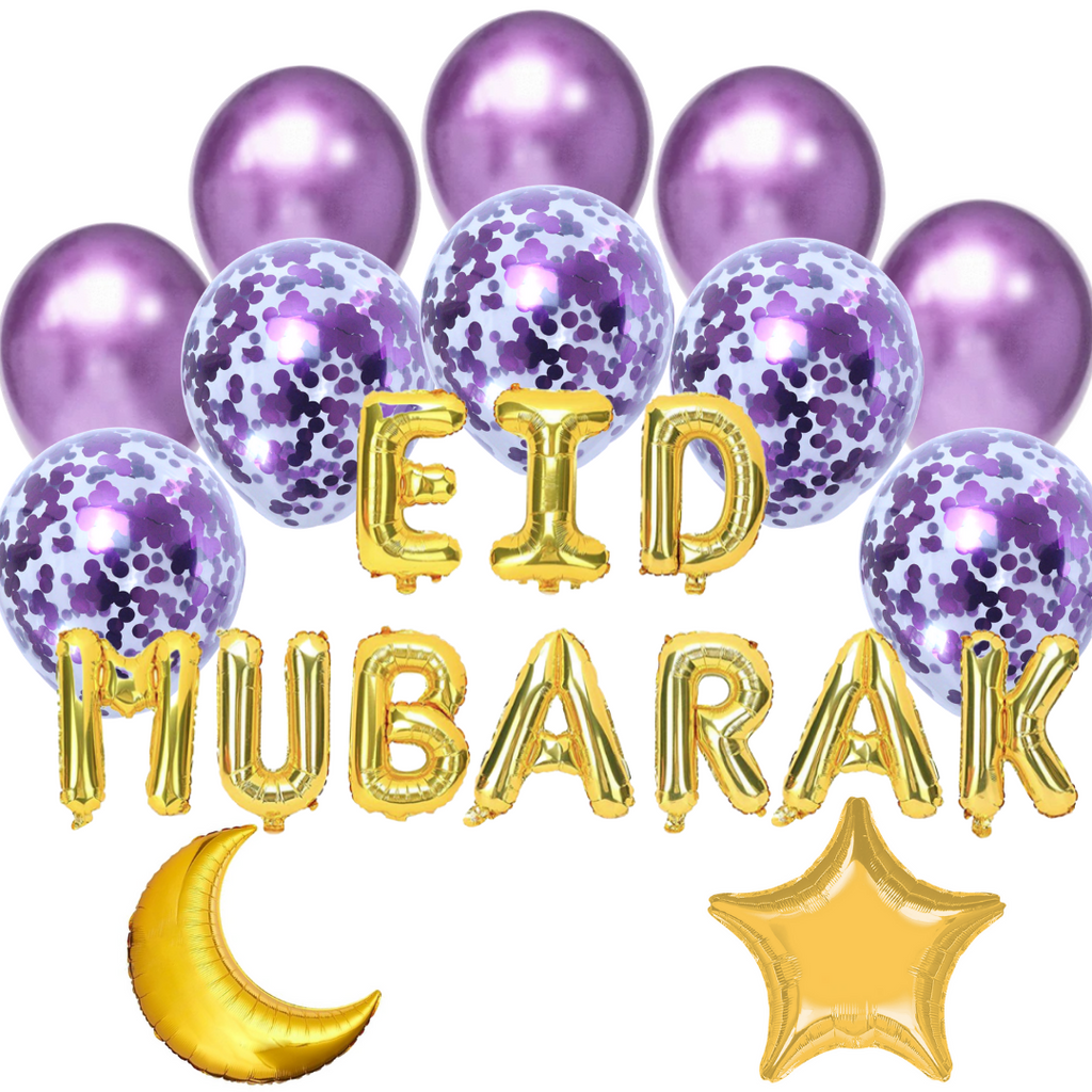 Balloon Bundle - Eid Mubarak - Gold & Purple - Peacock Supplies