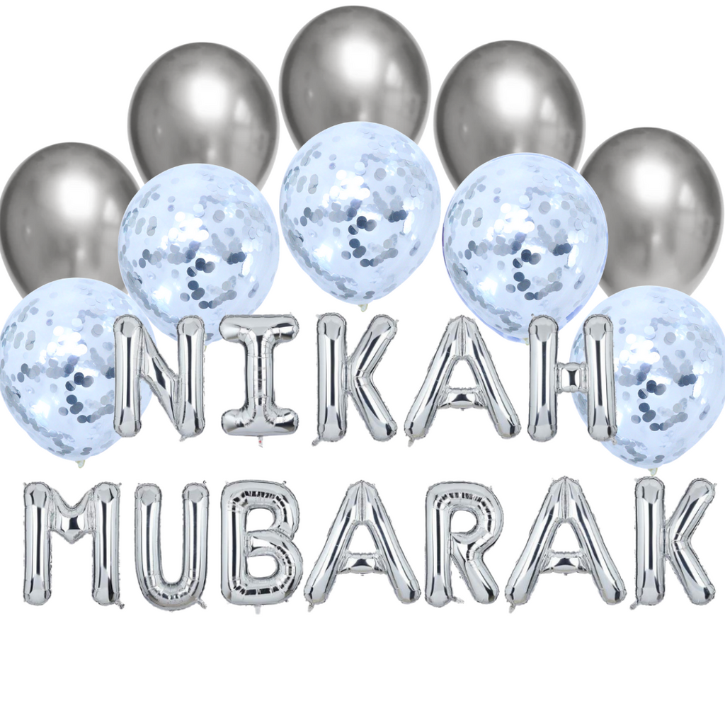 Balloon Bundle - Nikah Mubarak - Silver - Peacock Supplies