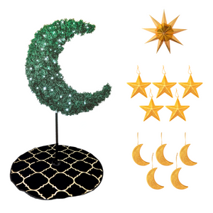 Tree Bundle - 5ft Green Eid Moon Tree - Gold - Peacock Supplies