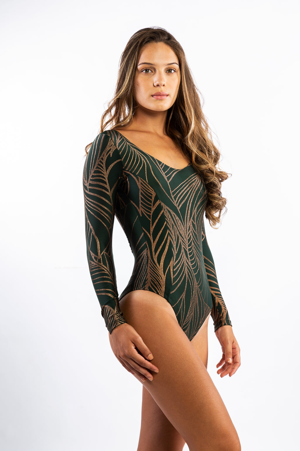 Green Polyamide body with details in Gold glitter