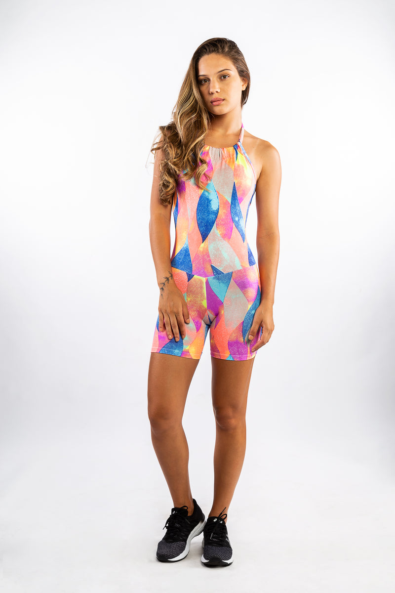 Colourful Short Print Fitness Playsuit