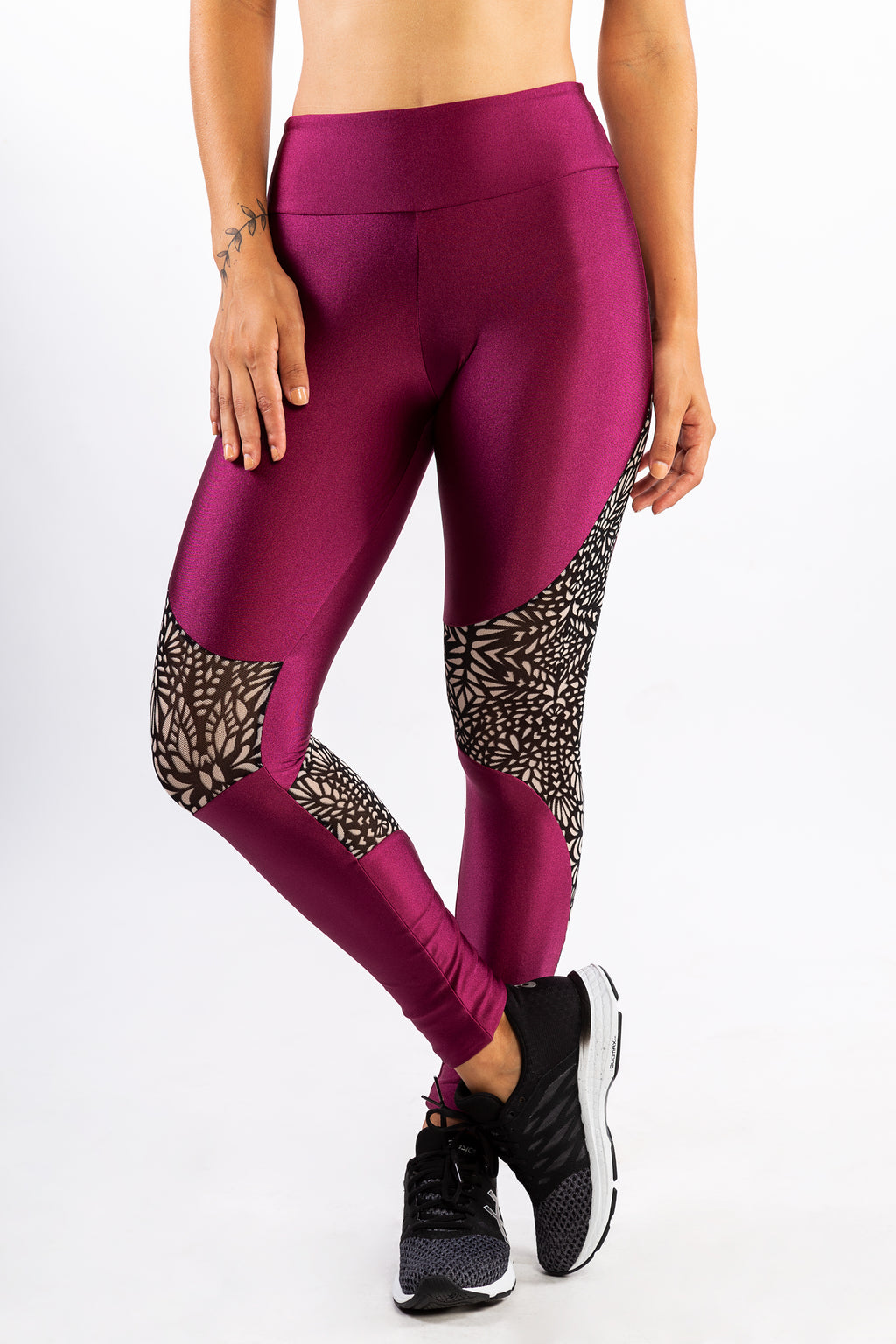 Wine Metal Legging with Printed Tulle