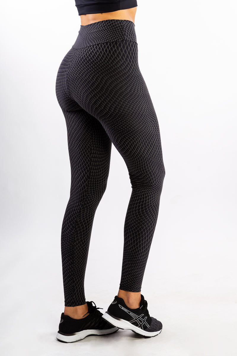 Black Textured Polyamide Legging