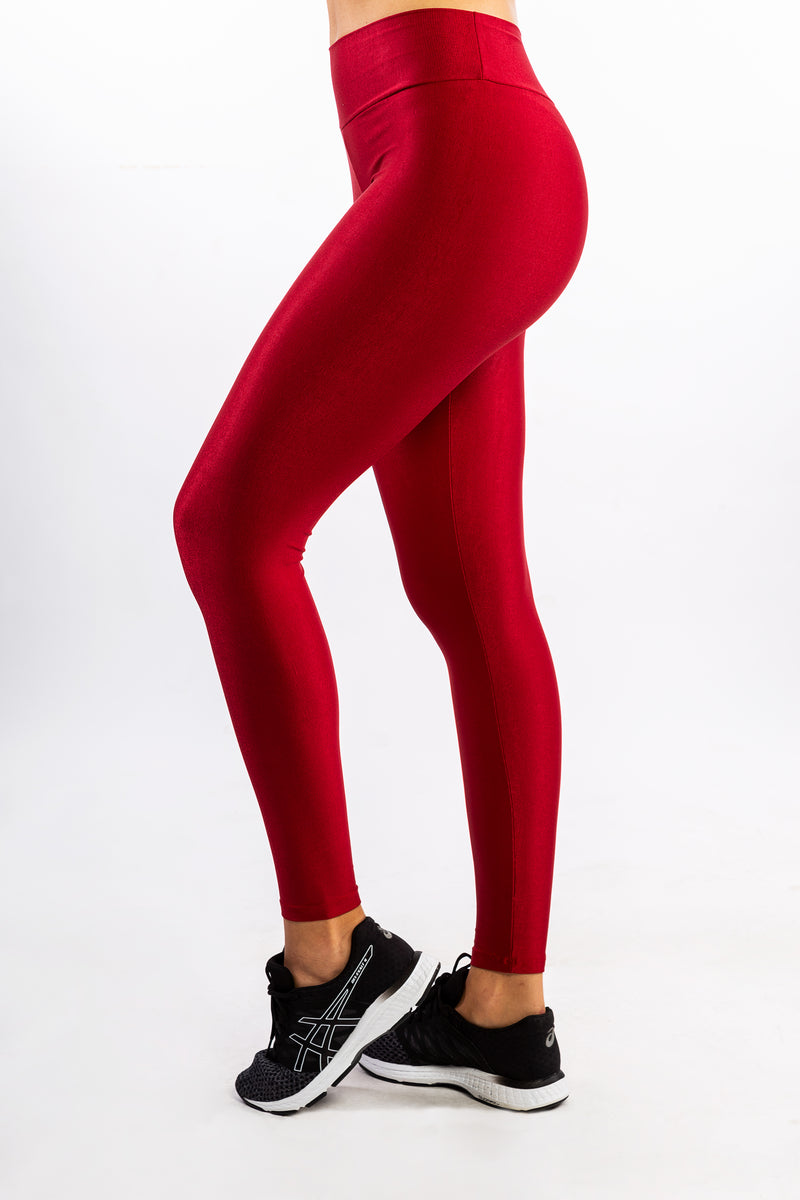 Red Polyamide Shine Lines Legging