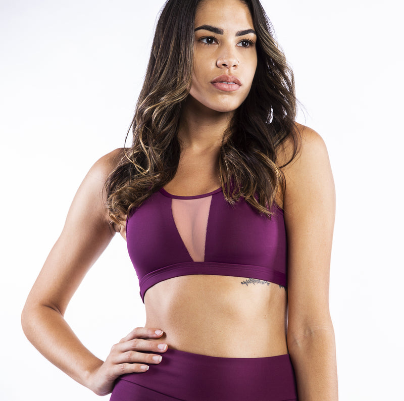 Maple Polyamide Sports Bra with Details in Tulle and foam cups