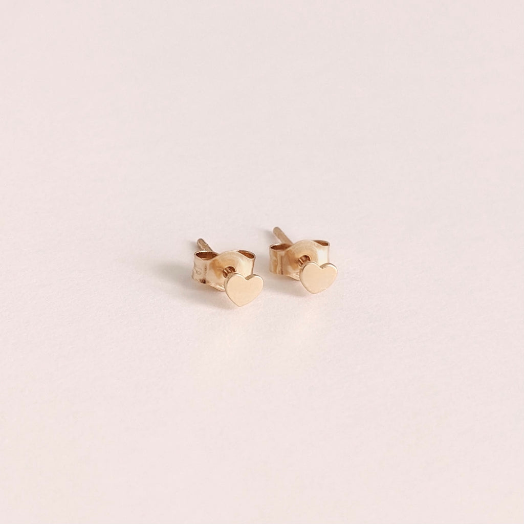 Solid Gold Heart Studs