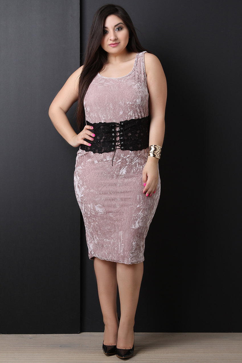 Velvet Sleeveless Lace Corset Midi Dress