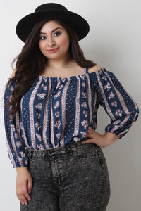 Striped Floral Bardot Top
