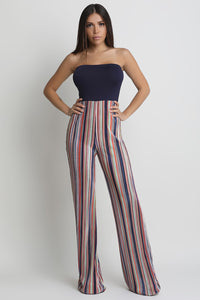 Contrast Strapless Accordion Striped Palazzo Jumpsuit
