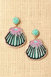 Rhinestone Embroidered Seashell Earrings