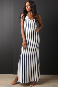Striped Lace-Up Back Maxi Dress