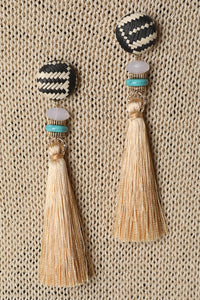 Two Tone Raffia Tassel Drop Earrings