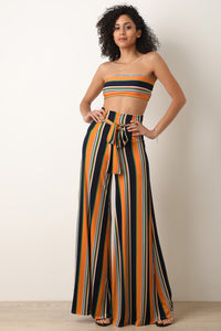 Multicolor Striped Tube Top With Wide Leg Pants Set