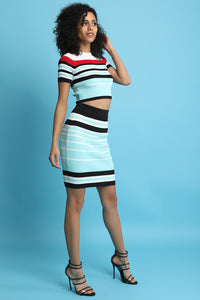 Striped Ribbed Knit Crop Top With Midi Skirt Set