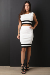 Striped Ribbed Knit Ruffled Crop Top With Midi Skirt Set
