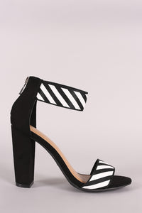 Bamboo Striped Grosgrain Open Toe Ankle Strap Chunky Heel