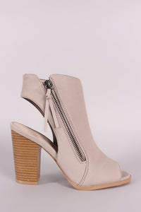 Qupid Nubuck Zipper Peep Toe Chunky Heeled Mule Booties