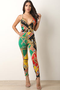 Jewel Filigree Backless Jumpsuit