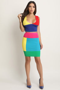 Colorblock Sweater Knit Top with Skirt Set