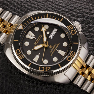 "NEW !!! Turtle ""PO Style""  Gilt Lumed Sapphire Bezel Insert- Black/Gold"