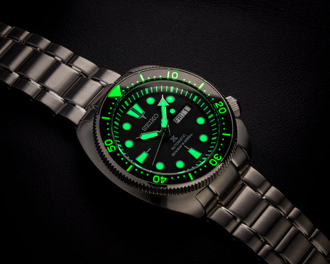 SRP 773/775/777/779 Seiko Turtle Black Brushed Stainless Steel Lumed Chapter Ring