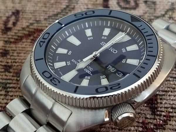 "Seiko Turtle ""PO Style"" -  Limited Ghost Edition Blue with Black Numbers- (No Lume)"