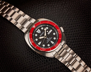 "Seiko Turtle ""PO Style"" Lumed Sapphire Bezel Insert- Red"