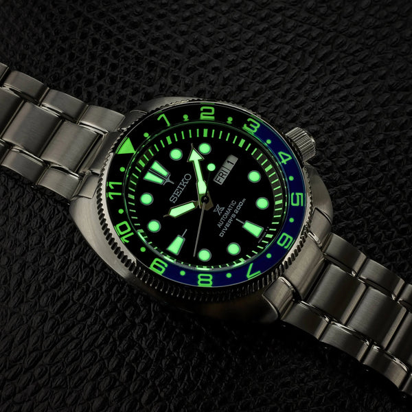 "NEW !!! Turtle ""12 Hour Style"" - Lumed Sapphire ""Batman"" Bezel Insert"